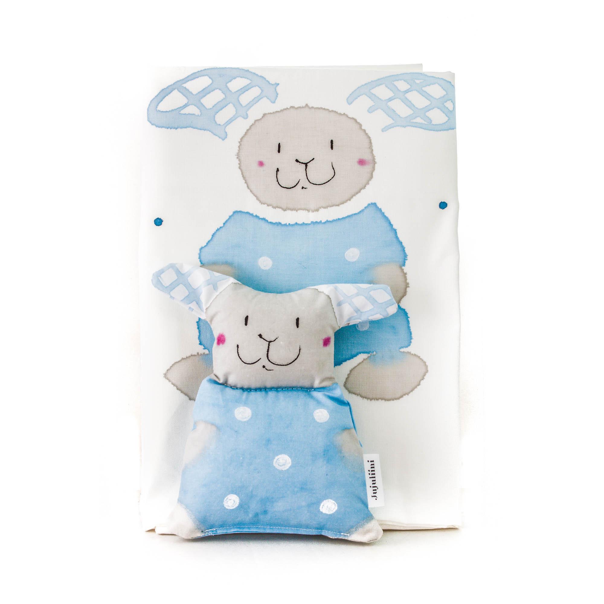 Jujuliini örngott med leksak kanin blå